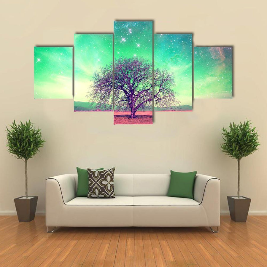 Red Alien Landscape With Alone Tree Multi Panel Canvas Wall Art 3 Pieces / Medium / Canvas Tiaracle