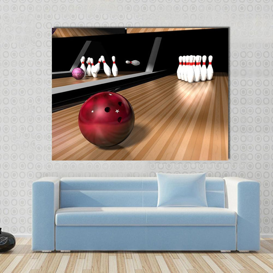 Red Bowling Ball Multi Panel Canvas Wall Art 4 Horizontal / Small / Gallery Wrap Tiaracle