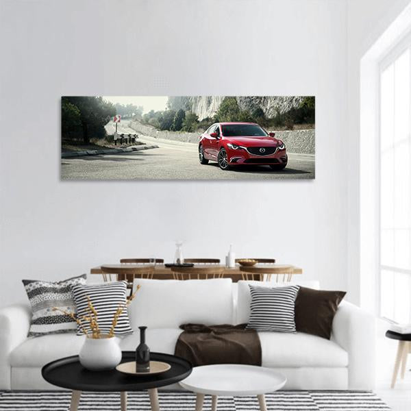 Red Car Mazda On The Road Panoramic Canvas Wall Art 3 Piece / Small Tiaracle