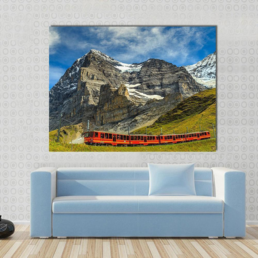Red Electric Train, Switzerland Canvas Wall Art-5 Horizontal-Small-Gallery Wrap-Tiaracle