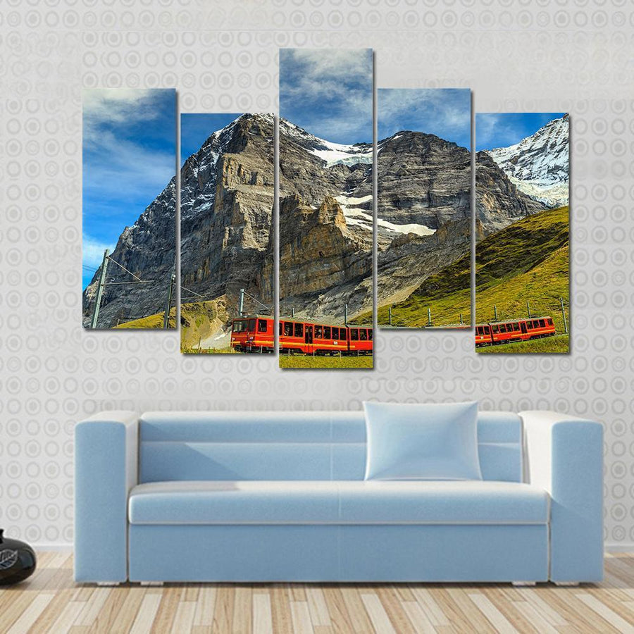 Famous Electric Red Tourist Train, Switzerland Canvas Panel Painting Tiaracle