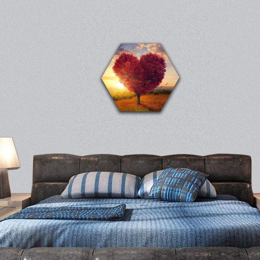 Red Heart Shaped Tree At Sunset Hexagonal Canvas Wall Art Tiaracle