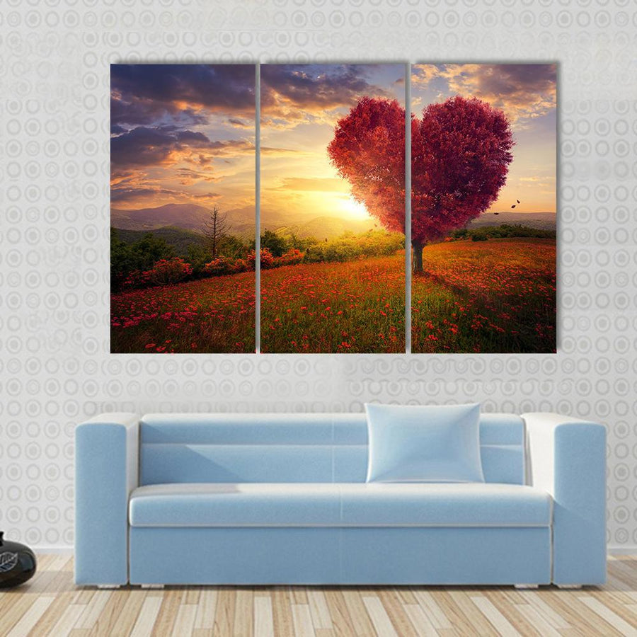 A Red Heart Shaped Tree At Sunset Canvas Panel Painting Tiaracle