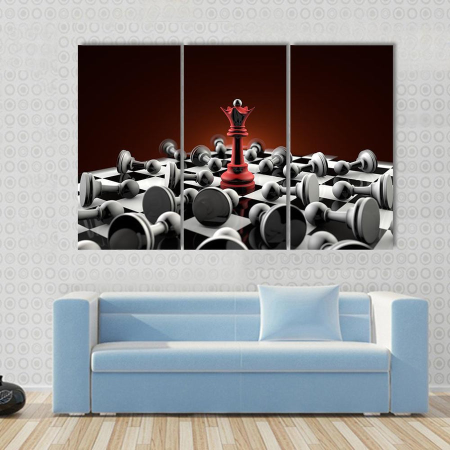 Chess Composition Queen Red And Gray Pawn Multi Panel Canvas Wall Art 3 Pieces / Small / Gallery Wrap Tiaracle