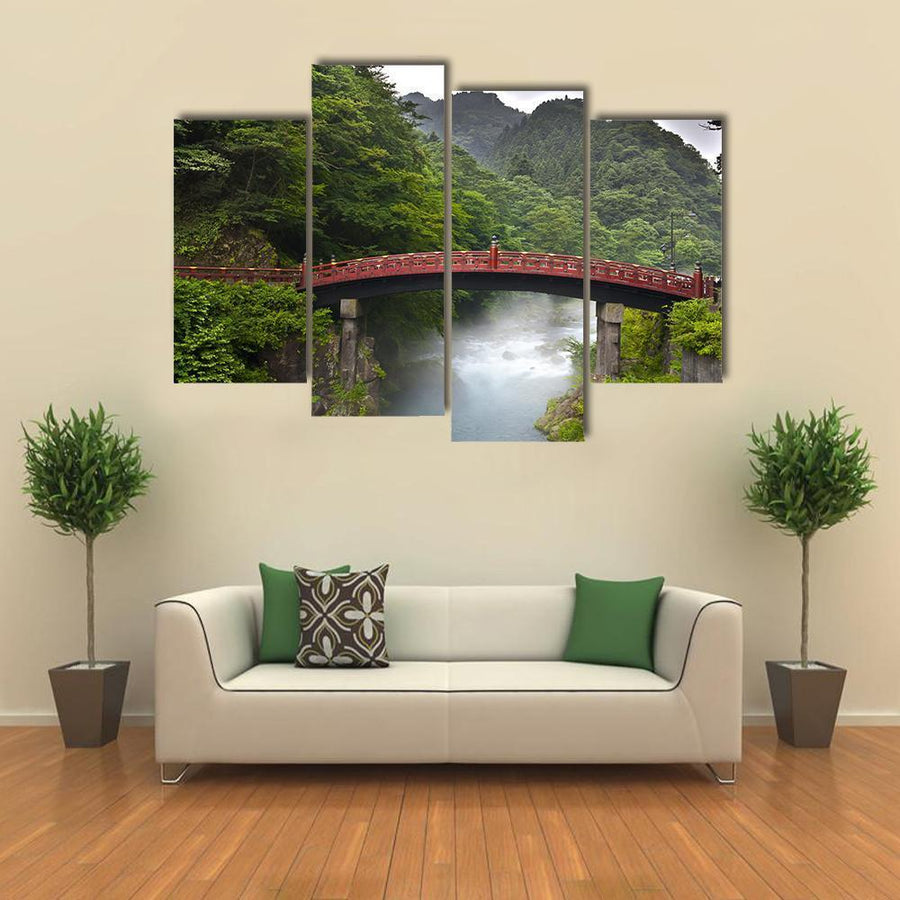 Red Sacred Bridge Shinkyo in Nikko Multi Panel Canvas Wall Art 5 Pieces(A) / Medium / Canvas Tiaracle