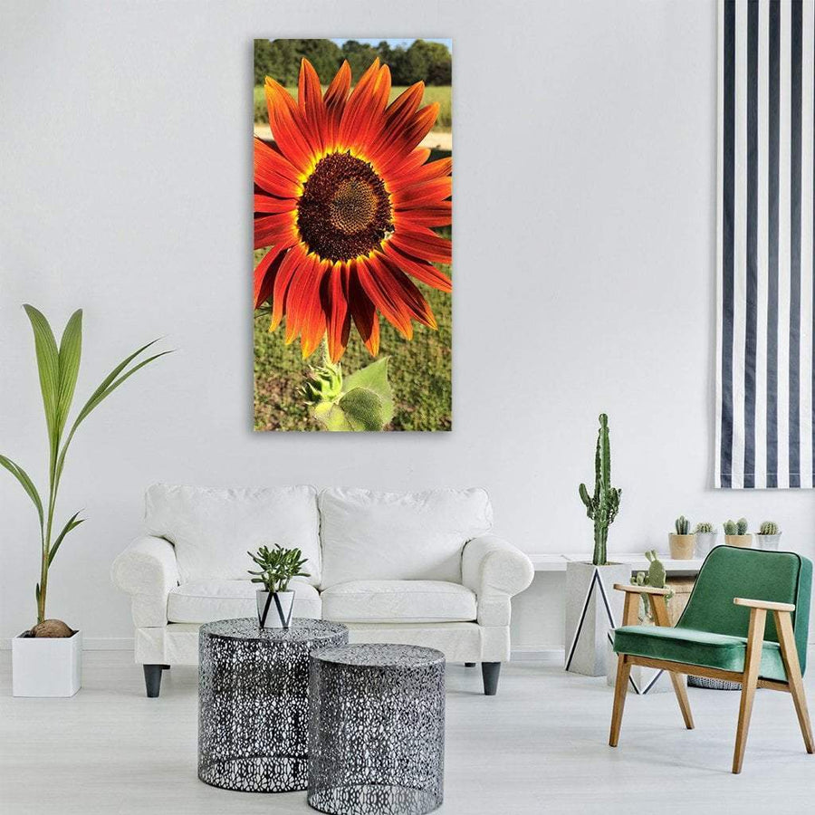 Red Sunflower In Spring Season Vertical Canvas Wall Art 3 Vertical / Small / Gallery Wrap Tiaracle