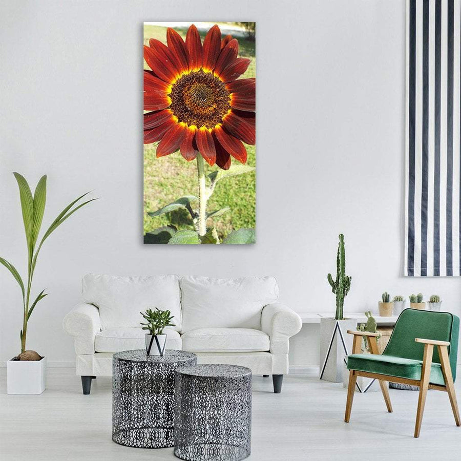 Red Sunflower Vertical Canvas Wall Art 3 Vertical / Small / Gallery Wrap Tiaracle