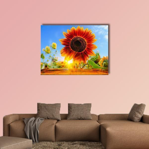 Red Sunflowers Field With Sunrise Flare Effect Multi Panel Canvas Wall Art 4 Square / Small / Gallery Wrap Tiaracle
