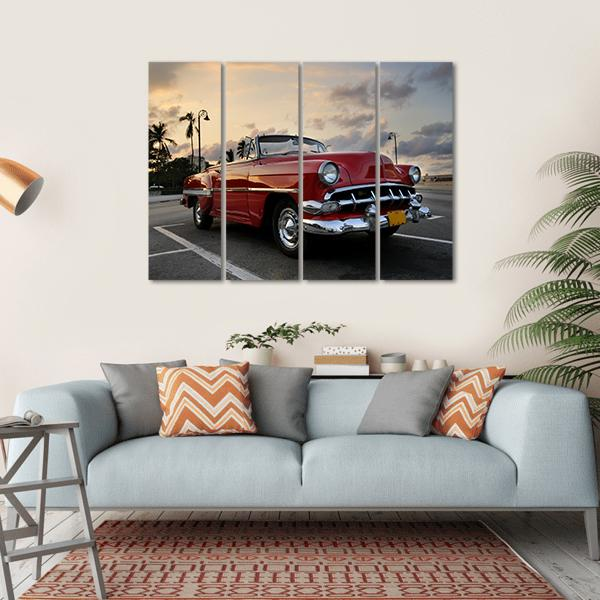 Red Vintage Car Parked In Havana Street Multi Panel Canvas Wall Art 1 Piece / Small / Gallery Wrap Tiaracle