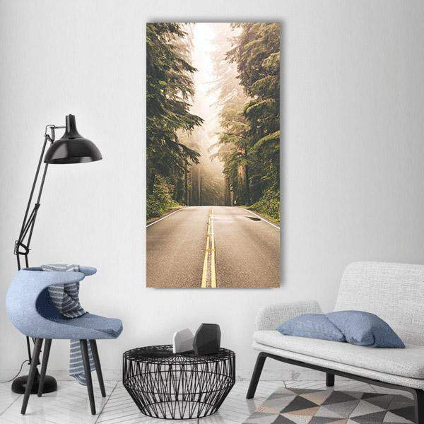 Redwood Forest Highway In California Vertical Canvas Wall Art 3 Vertical / Small / Gallery Wrap Tiaracle
