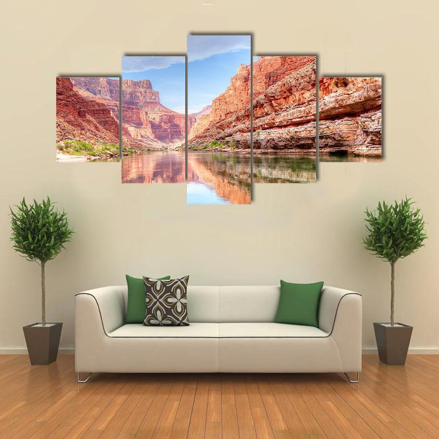 Reflection Of Grand Canyon In Colorado River Canvas Panel Painting Tiaracle