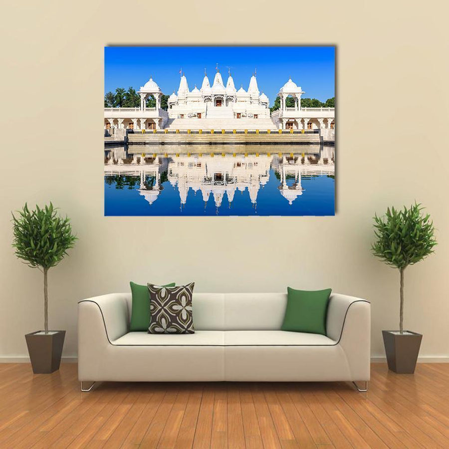 Reflection Of Hindu Temple In Atlanta Multi Panel Canvas Wall Art 5 Horizontal / Small / Gallery Wrap Tiaracle