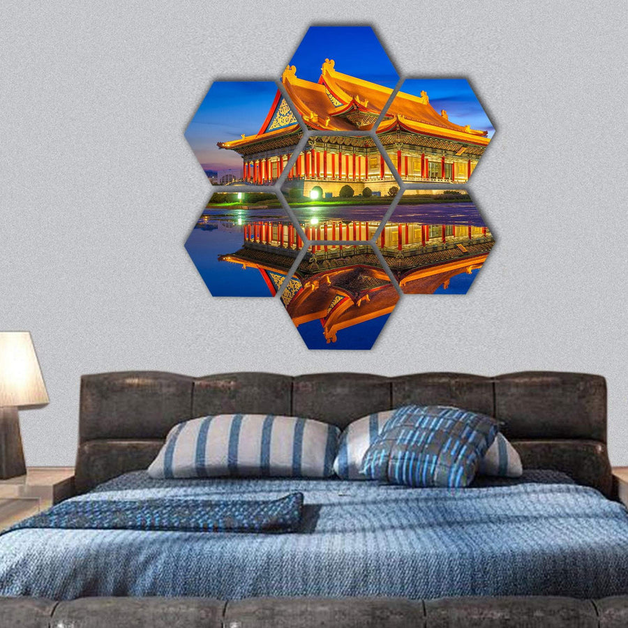 Reflection Of National Theater Hall In Taipei Hexagonal Canvas Wall Art 1 Hexa / Small / Gallery Wrap Tiaracle