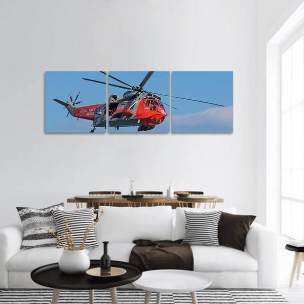 Rescue Helicopter In Dawlish UK Panoramic Canvas Wall Art 1 Piece / Small Tiaracle