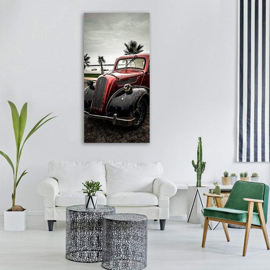 Retro Old Classic Car Vertical Canvas Wall Art 3 Vertical / Small / Gallery Wrap Tiaracle
