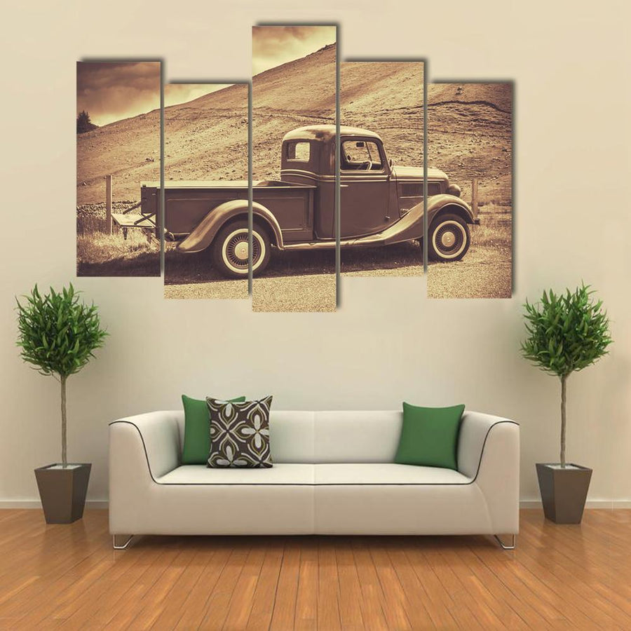Retro Style Vintage Truck Canvas Wall Art-5 Star-Small-Gallery Wrap-Tiaracle