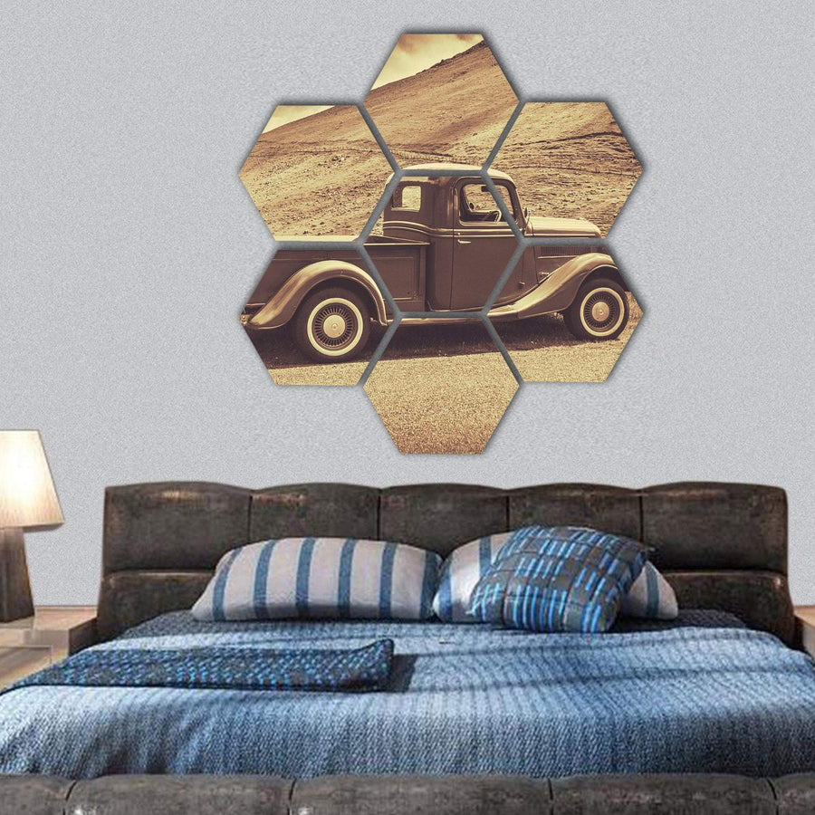 Retro Style Vintage Truck Hexagonal Canvas Wall Art 1 Hexa / Small / Gallery Wrap Tiaracle