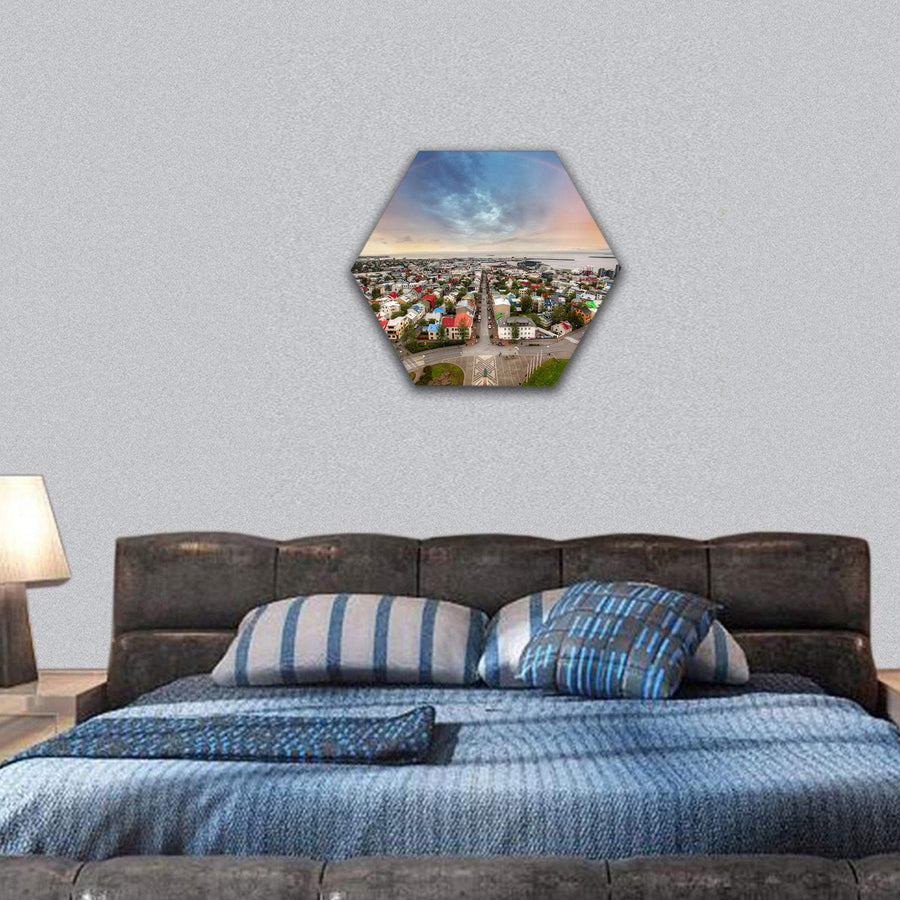 Reykjavik City Space In Iceland Hexagonal Canvas Wall Art 7 Hexa / Small / Gallery Wrap Tiaracle