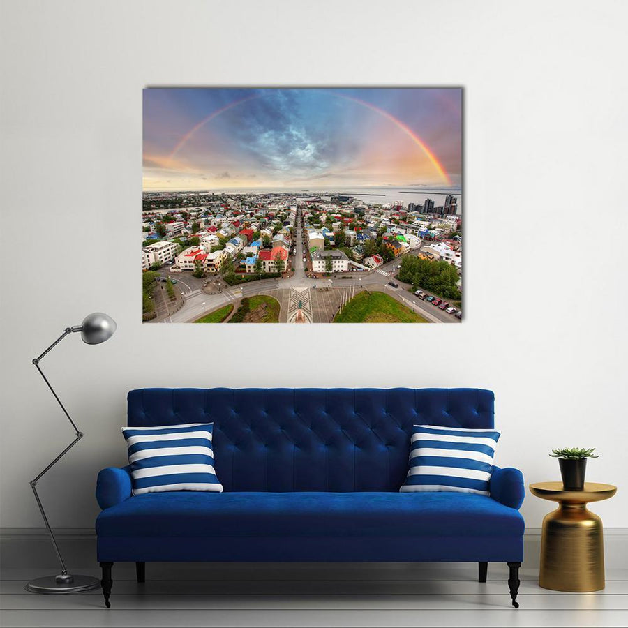 Reykjavik Cityspace In Iceland Multi Panel Canvas Wall Art-4 Horizontal-Small-Gallery Wrap-Tiaracle