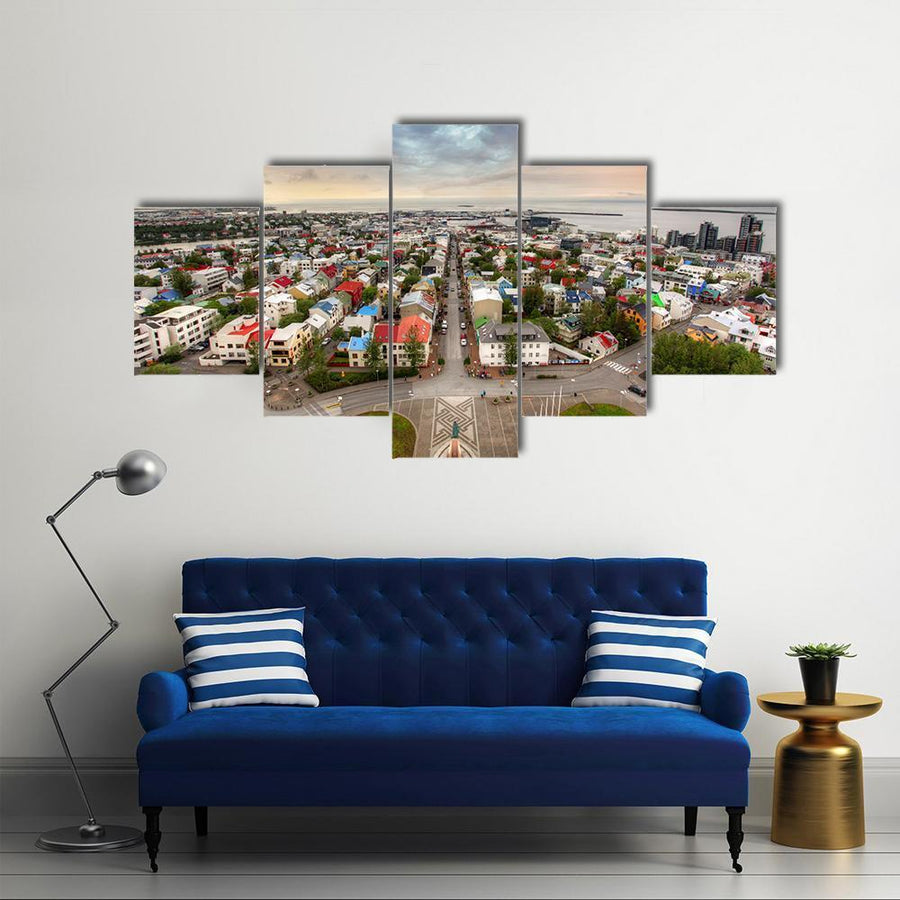 Reykjavik Cityspace In Iceland Multi Panel Canvas Wall Art 5 Pieces(A) / Medium / Canvas Tiaracle