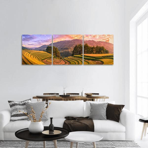 Rice Fields On Terraced In Vietnam Panoramic Canvas Wall Art 1 Piece / Small Tiaracle