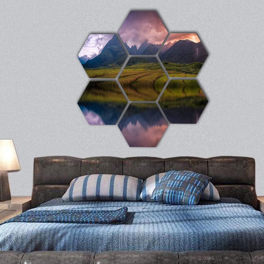 Rice Fields On Terraced With Mount Fansipan Hexagonal Canvas Wall Art 1 Hexa / Small / Gallery Wrap Tiaracle