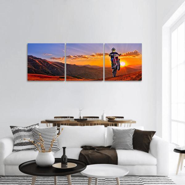 Rider On Mountain Landscape Panoramic Canvas Wall Art Tiaracle