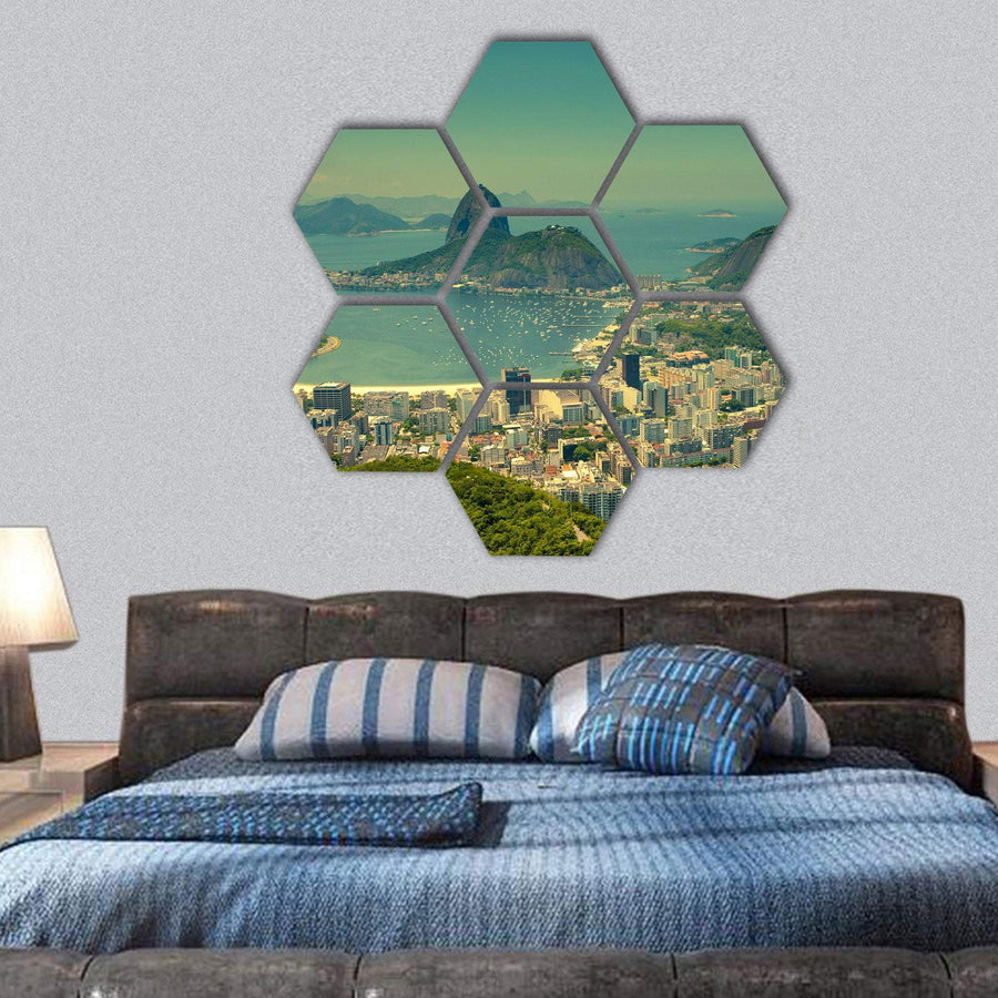 Rio De Janeiro And Sugarloaf Mountain Hexagonal Canvas Wall Art 1 Hexa / Small / Gallery Wrap Tiaracle