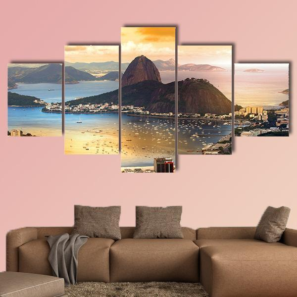 Rio De Janeiro At Brazil In Twilight Multi Panel Canvas Wall Art 5 Pieces(A) / Medium / Canvas Tiaracle
