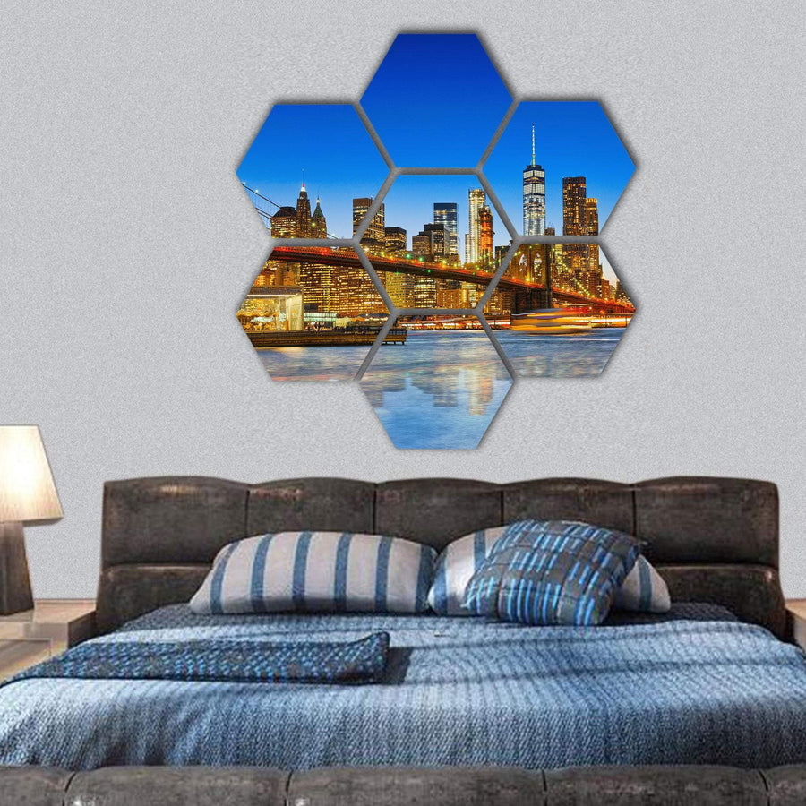 River In Lower Manhattan And Brooklyn Bridge Hexagonal Canvas Wall Art 1 Hexa / Small / Gallery Wrap Tiaracle