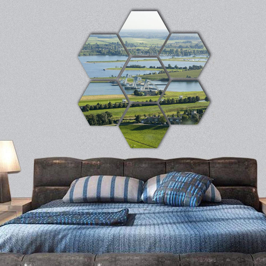 River Rhine In Holland Hexagonal Canvas Wall Art 1 Hexa / Small / Gallery Wrap Tiaracle