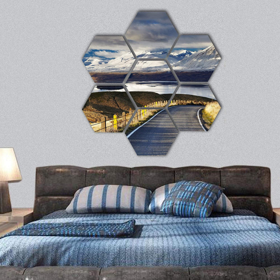 Road And Lake Tekapo Hexagonal Canvas Wall Art 1 Hexa / Small / Gallery Wrap Tiaracle