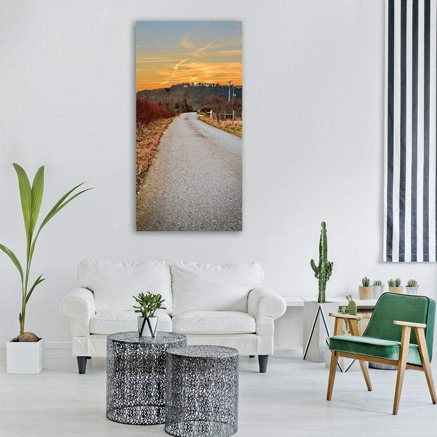 Road At Sunset In Autumn Fall Vertical Canvas Wall Art 3 Vertical / Small / Gallery Wrap Tiaracle