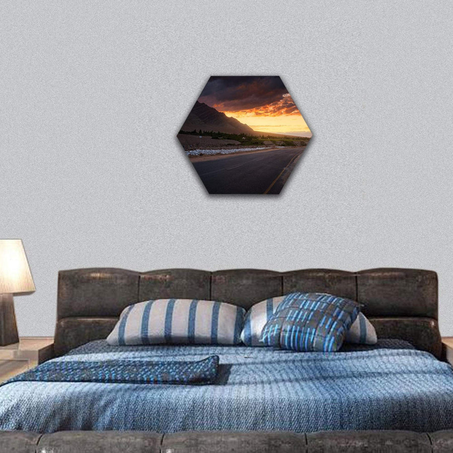 Road In Ladakh At Sunset Hexagonal Canvas Wall Art 7 Hexa / Small / Gallery Wrap Tiaracle