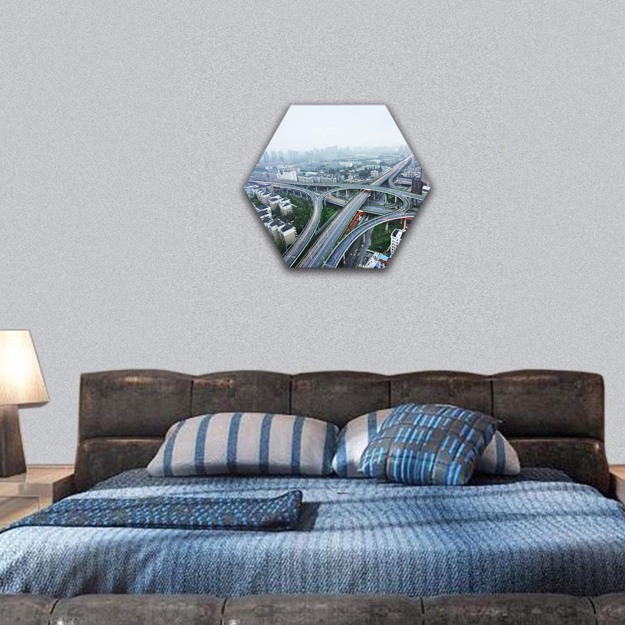 Road Junction At Hangzhou Hexagonal Canvas Wall Art 7 Hexa / Small / Gallery Wrap Tiaracle