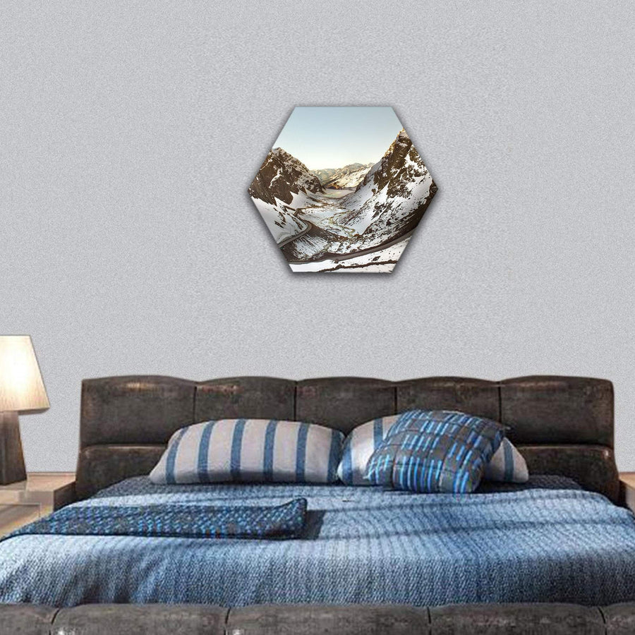 Road To Andina Copper Mine In Chilean Andes Hexagonal Canvas Wall Art 7 Hexa / Small / Gallery Wrap Tiaracle
