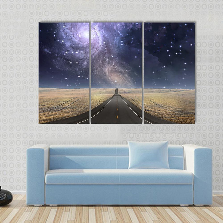 Road to Galaxy Multi Panel Canvas Wall Art 3 Pieces / Small / Canvas Tiaracle