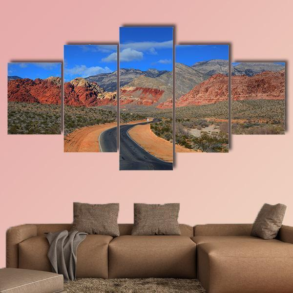 Road To Red Rock Canyon Multi Panel Canvas Wall Art 5 Pieces(A) / Medium / Canvas Tiaracle