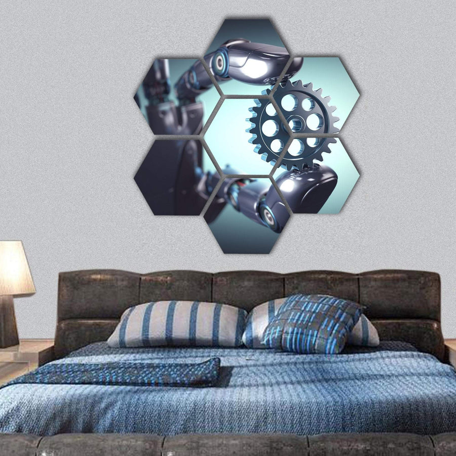 Robotic Hand Holding A Gear Concept Hexagonal Canvas Wall Art 1 Hexa / Small / Gallery Wrap Tiaracle