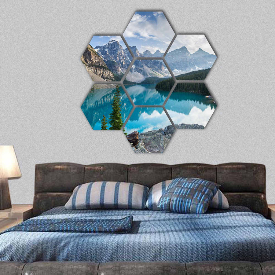 Rocky Mountains With Moraine Lake In Canada Hexagonal Canvas Wall Art-1 Hexa-Small-Gallery Wrap-Tiaracle