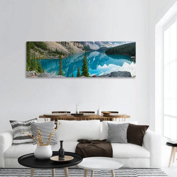 Rocky Mountains With Moraine Lake In Canada Panoramic Canvas Wall Art-3 Piece-Small-Tiaracle