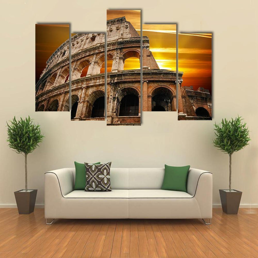 Roman Colosseum At Sunrise Canvas Panel Painting Tiaracle