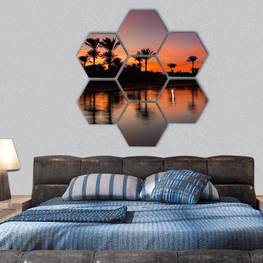 Romantic Sunset Over Sandy Beach Hexagonal Canvas Wall Art 1 Hexa / Small / Gallery Wrap Tiaracle