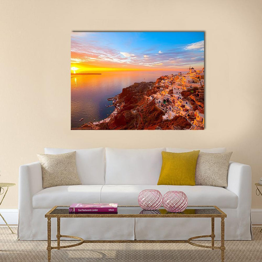 Romantic Sunsets In Santorini Multi Panel Canvas Wall Art-5 Horizontal-Small-Gallery Wrap-Tiaracle
