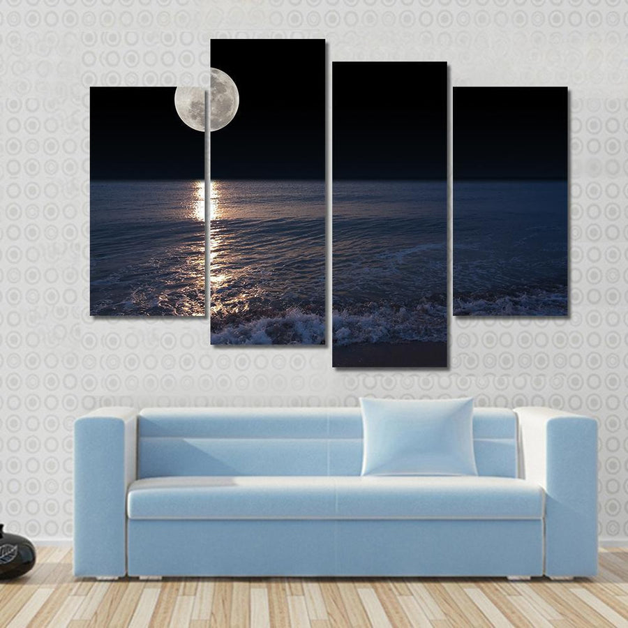 Romantic Tropical Beach With Beautiful Full Moon Canvas Panel Painting Tiaracle