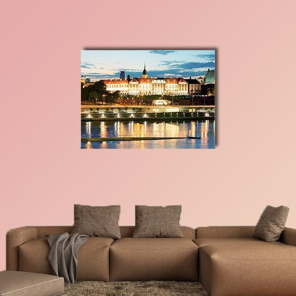 Royal Castle Over The Vistula River In Warsaw Multi Panel Canvas Wall Art 3 Pieces / Small / Gallery Wrap Tiaracle