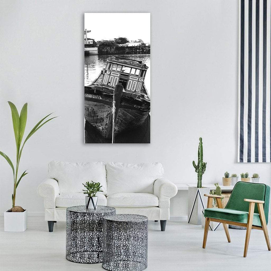 Sail Boat In Vietnam Vertical Canvas Wall Art 3 Vertical / Small / Gallery Wrap Tiaracle