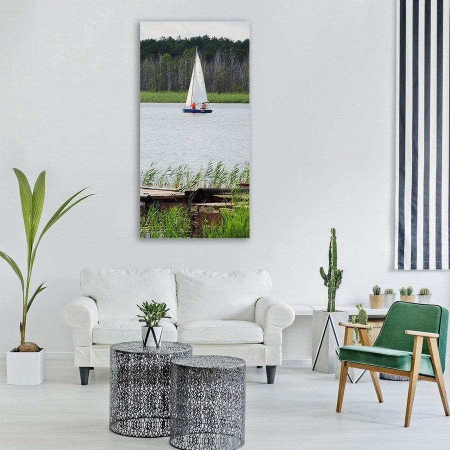 Sailboat In Lake Vertical Canvas Wall Art 3 Vertical / Small / Gallery Wrap Tiaracle