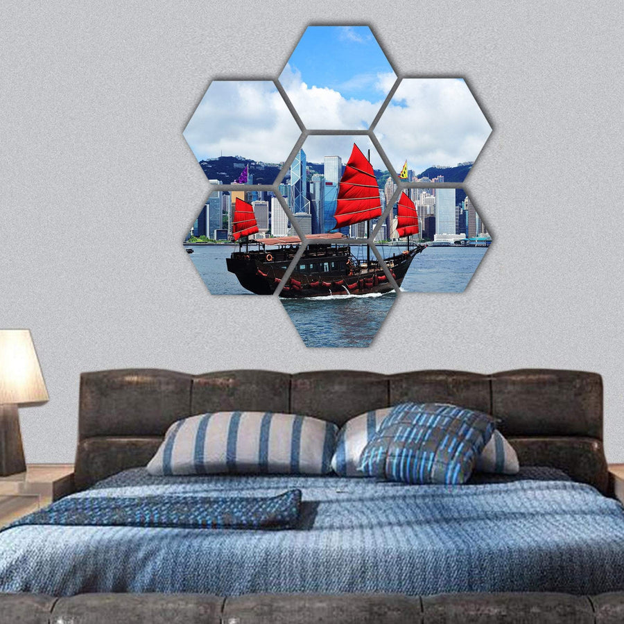 Sailing Boat In Hong Kong Harbour Hexagonal Canvas Wall Art 1 Hexa / Small / Gallery Wrap Tiaracle