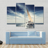 Sailing Ship Yachts With White Sails Multi Panel Canvas Wall Art 4 Pop / Small / Gallery Wrap Tiaracle